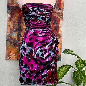 Cache Silk Strapless Leopard Print Cocktail Dress